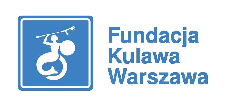 Piktogram syrenki warszawskiej na wózku z kulą w ręce. Obok napis Fundacja Kulawa Warszawa