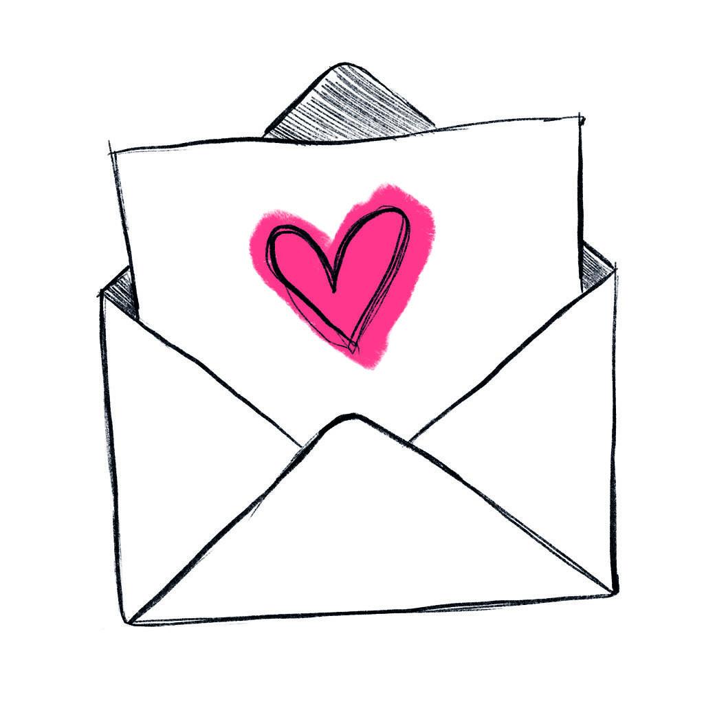 rysunek koperty z której wystaje kartka z czerwonym sercem