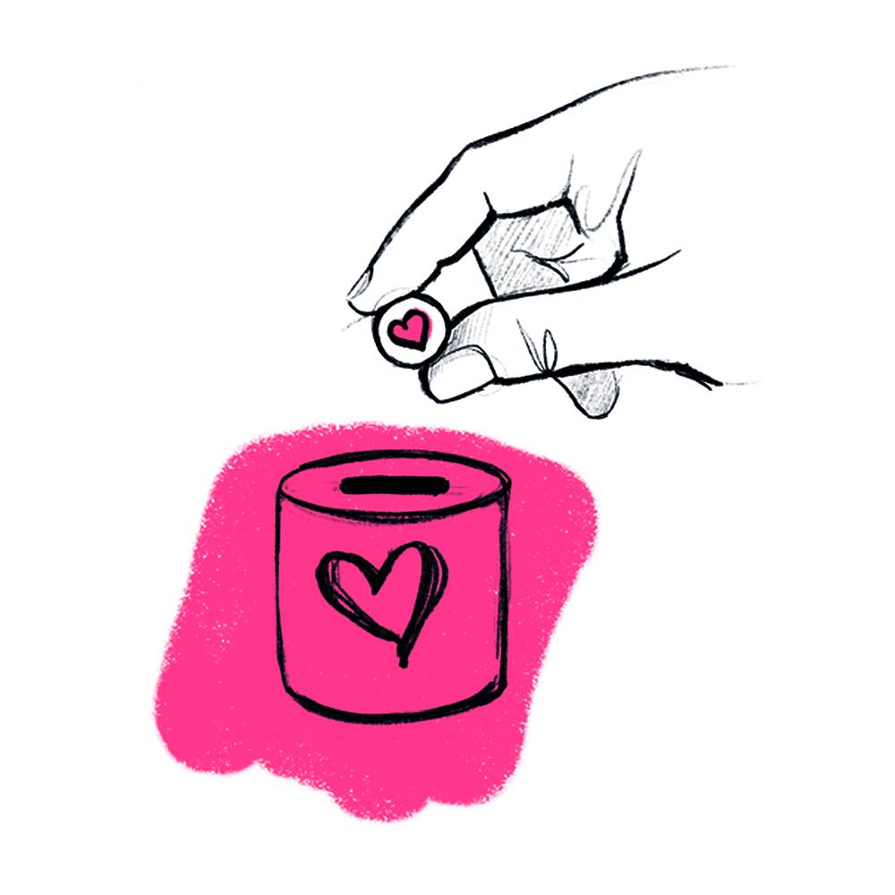 puszka skarbonka z sercem na czerwonym tle, do której dłoń wrzuca monetę z sercem
