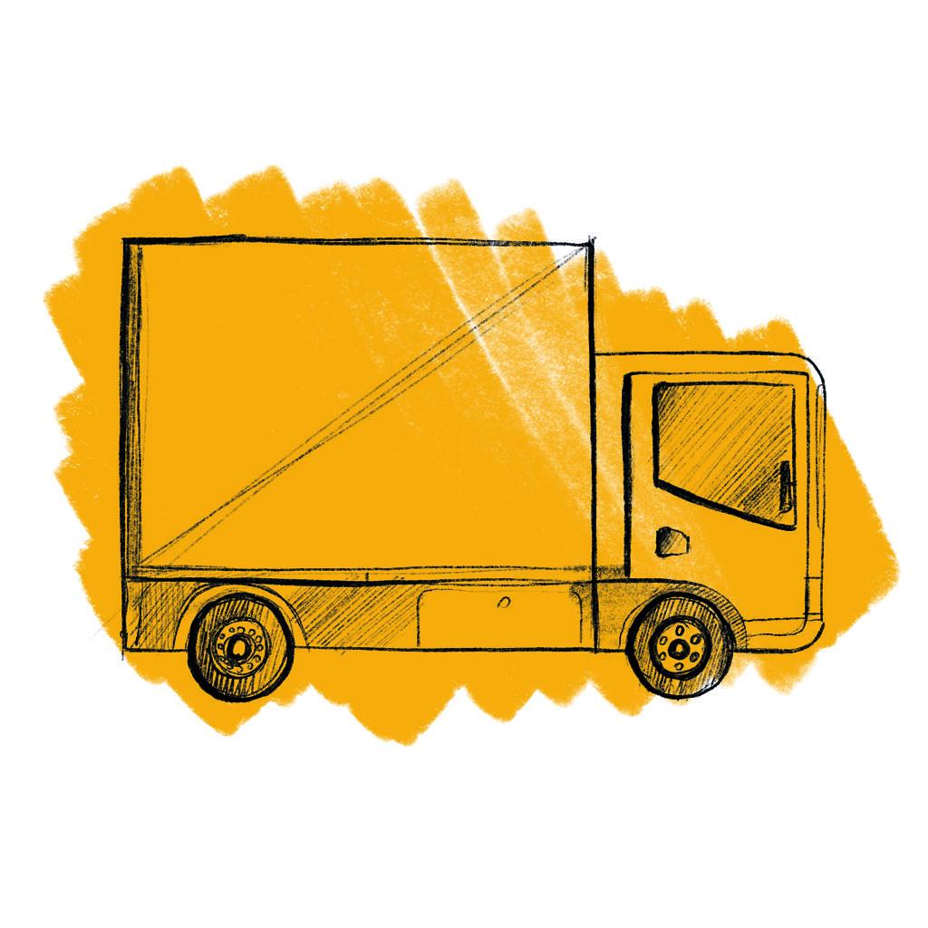 rysunek ciężarówki na żółtym tle