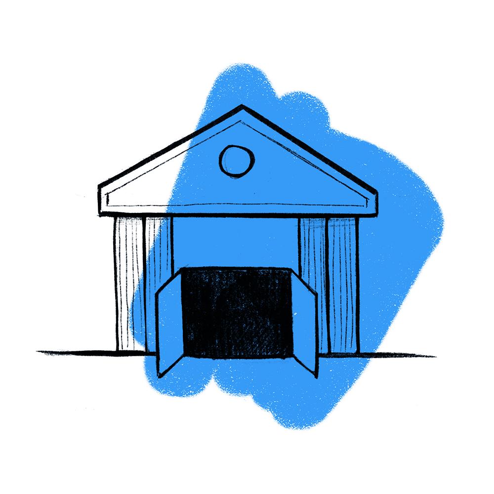 wejście do budynku z otwartymi drzwiami na niebieskim tle