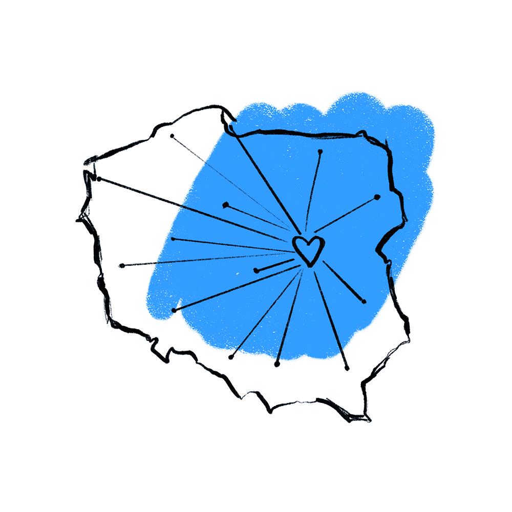 kontury Polski ma niebieskim tle, w miejscu gdzie jest warszawa znajduje sie serce, a od niego odchodzą kreski na wszystkie strony